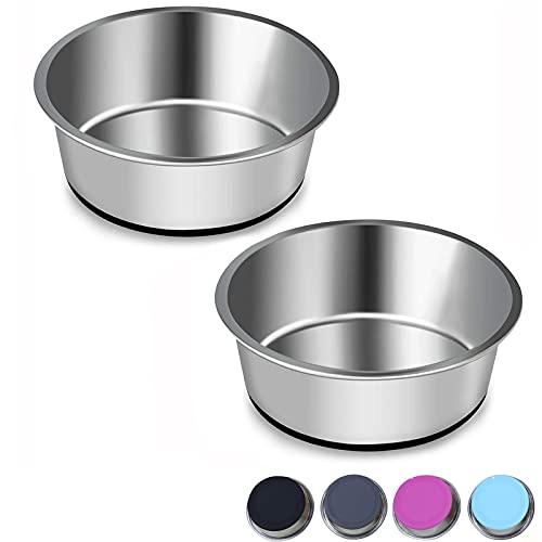 Edelstahl Hundenapf mit Rutschfester Gummibasis,SUOXU 2 Stück Edelstahlnapf Napfset für Futter oder Wasser, Haustier Futternapf für Mittelgroße Kleine Größe Hunde