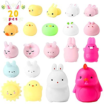 WATINC 20Pcs Easter Mochi Squishies Toys for Kids Easter Party Favors, Kawaii Easter Bunny Chicken Animals Squeeze Cat Squishies, Stress Relief Hand Toys, Easter Party Decorations Gifts for Toddlers