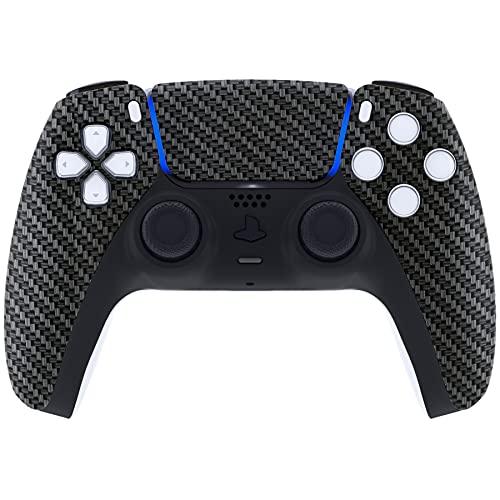 eXtremeRate Carcasa Suave para Playstation 5 Control Funda Delantera con Touchpad para DualSense Cubierta Personalizada DIY Reemplazo Placa Protector Cover Accesorios para PS5 Mando(Fibra de Carbono)