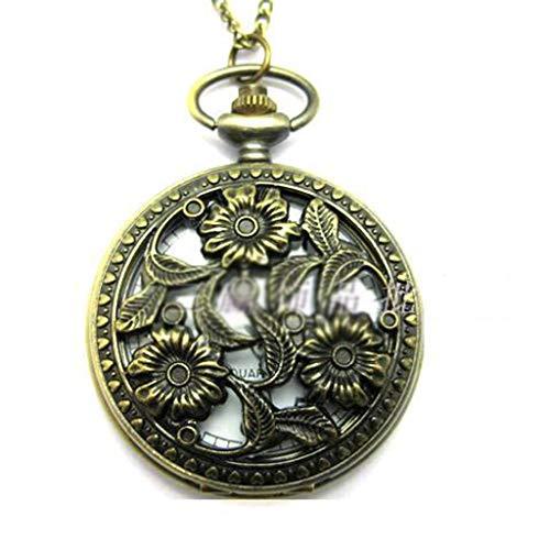 XJJZS Plegable de la Vendimia Tallado Hueco Pared Reloj Reloj de Cuarzo Collar Viejo Reloj de los Hombres de