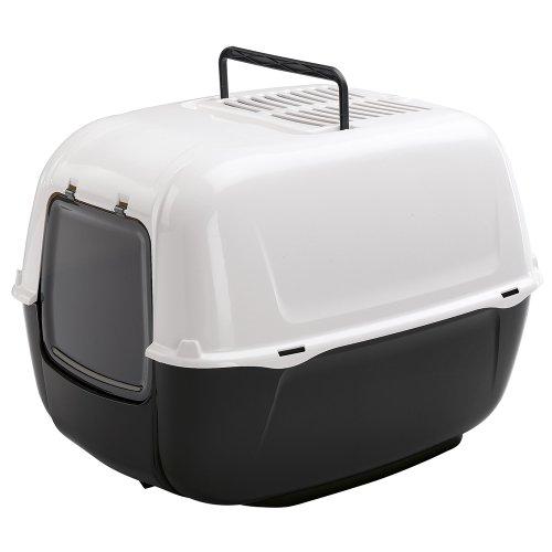 Ferplast Katzentoilette Prima mit Haube – Hochwertige Haubentoilette aus Kunststoff mit Tragegriff und Aktivkohlefilter zur Geruchsbekämpfung – Maße: 52,5 x 39,5 x 38 cm