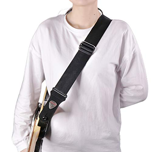 Nylon Guitar Strap with Quick Adjustment Technology FREE BONUS- 3 Picks + Strap Locks + Strap Button A Great Gift for Men Women Guitarist for Bass, Electric & Acoustic Guitars 2' Wide (black)