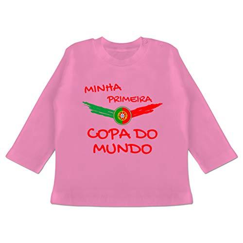 Fußball-Europameisterschaft 2020 - Baby - Meine erste WM Portugal portugiesisch - 18/24 Monate - Pink - Portugal Baby - BZ11 - Baby T-Shirt Langarm