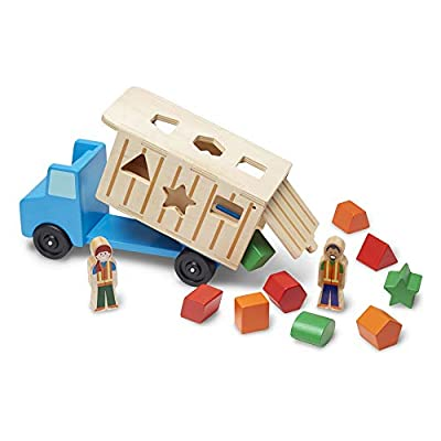 Melissa & Doug Shape-Sorting Wooden Dump Truck Toy (Quality Craftsmanship, 9 Colorful Shapes and 2 Play Figures, Great Gift for Girls and Boys - Best for 2, 3, 4, and 5 Year Olds)