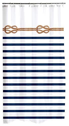 one-home Duschvorhang 180x200 cm Marine Maritime blau Wasserabweisend Badewannen Vorhang