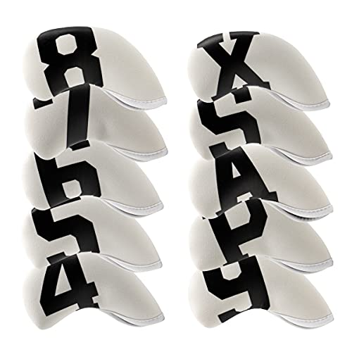 10pcs Neoprene Golf Iron Covers Headcovers, Golf Iron Head Covers Set fits Taylormade,Cobra,Mizuno,PXG - White Golf Iron...