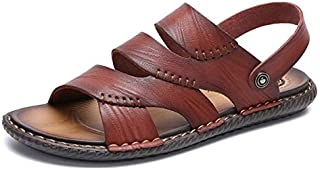 New Men Summer Outdoor Sandals Soft Shoes Beach Slippers Comfortable Casual Sneakers Leather Flip Flops Hombre (Color : Brown, Shoe Size : 42)