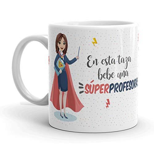 Kembilove Taza de Café Profesora – En Esta Taza Bebe una Súper Profesora – Taza de Desayuno para la Oficina – Taza de Café y Té para Profesionales – Taza de Cerámica Impresa – Tazas de 350 ml