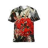 ユニセックス Tシャツ 彼岸花 レッド 白い 3Dプリント 半袖 カップル