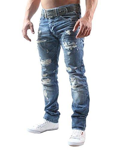 Red Bridge Uomo Denim Jeans Straight Fit Usato Strappati Fori Casual Cotone Moda Pantaloni
