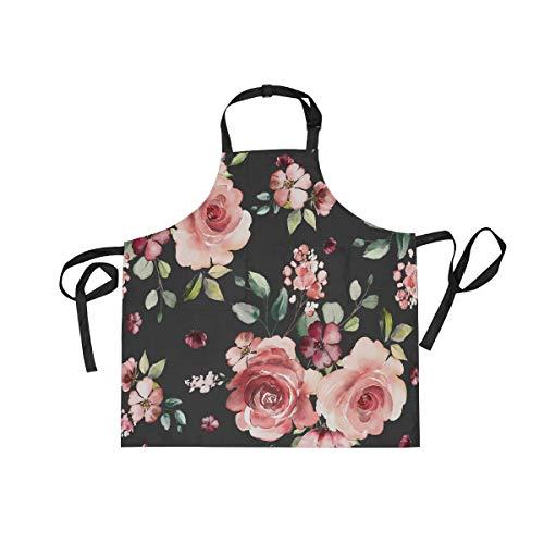 Rose Flowers Floral Apron with 2 Pockets for Women Men Adjustable Garden Bib
