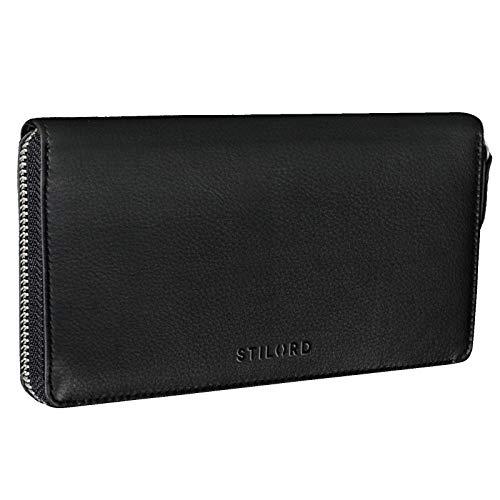 STILORD 'Emilia' Damen Portemonnaie Elegante Klassische Geldbörse groß aus echtem Rindsleder, Quer mit Reißverschluss Leder, Farbe:schwarz