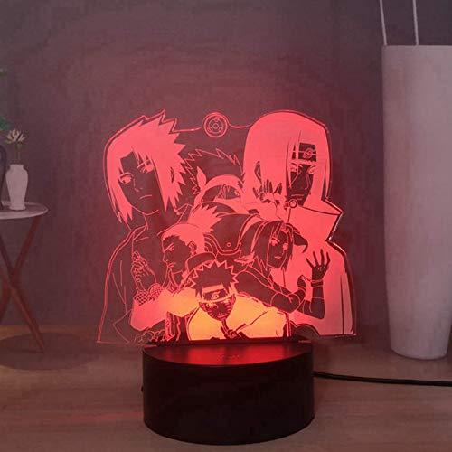 Naruto Anime 16 colores LED Luz nocturna 3D, Uchiha Itachi y Sasuke, Kakashi, Nara, USB, mando a distancia táctil para niños, luz de noche para dormitorio o decoración de oficina para niños
