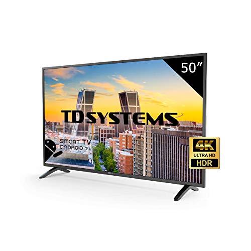 """TD Systems K50DLM8US - Smart TV de 50"""" (Ultra HD 4K, resolución 3840 x 2160, HDR, 3X HDMI, VGA, 2X USB) Color Negro"""