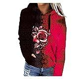 De las mujeres de bloque de color estampado mariposa blusa con capucha de manga larga sudaderas con capucha suéter con cordón sudadera Tops de primavera Cardigan chaqueta 21090825, rosso, XL