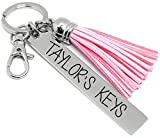 Personalized Key Chain, Tassel Key Chain, Key Ring for Car Keys, Name Key Chain, Pink Black White or Brown, Gift for Women, Teenager Gift