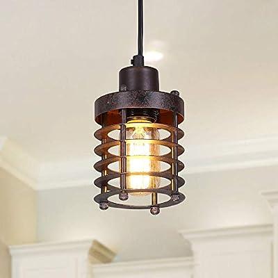 LNC Mini Cage Pendant Lights Rust Ceiling Lights Industrial Pendant Lighting