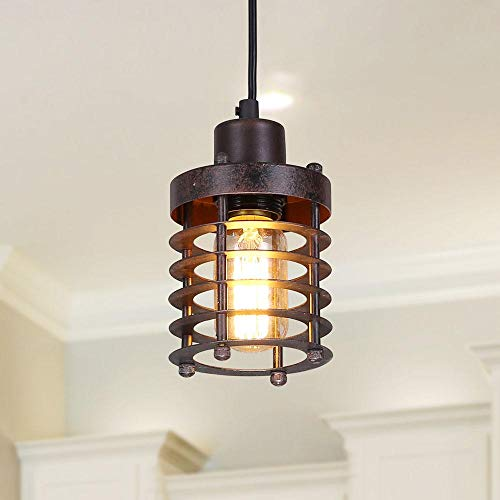 LNC A02534 Mini Cage Rust Industrial Lighting Ceiling Pendant Fixtures, Brown