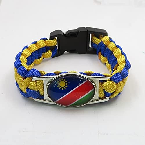 AETTP 2Pc Namibia Armband Handgemachte Namibia Flagge Leder Seil Armband & Armreifen Für Damen Und Herren Schmuck