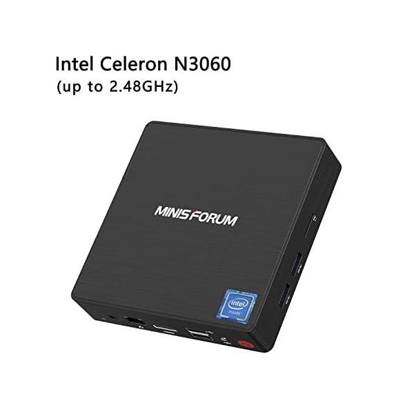 N36 Mini PC Intel N3060 Processor(up to 2.48GHz) Windows 10 Mini Computer, 4GB RAM 64GB eMMC, 4K, 1000M LAN, 2.4/5G WiFi, BT4.2, HDMI&VGA Port Support Auto Power On