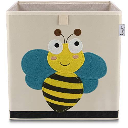 Lifeney Kinder Aufbewahrungsbox I praktische Aufbewahrungsbox für jedes Kinderzimmer I Kinder Spielkiste I Niedliche Spielzeugbox I Korb zur Aufbewahrung von Kinder Spielsachen (Biene hell)