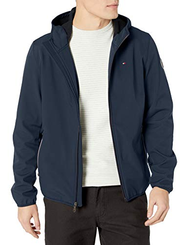Tommy Hilfiger Men's Lightweight Water Resistant Breathable Hooded Performance Softshell Jacket, Midnight, XXX-Large