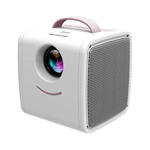 Mini Projector, HD 1080P Home Multimedia Projector With Stereo Speakers, Compatible With USB/TF Card/AV (Color : Pink-white)