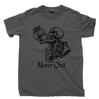 Never Quit T Shirt Beer Mug Drinking Skeleton Tattoo Tee  3XL Dark Gray
