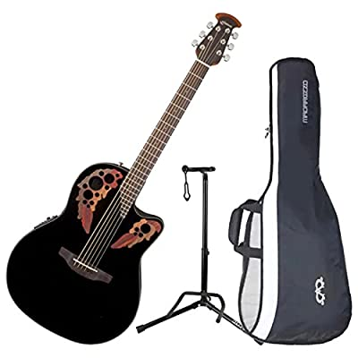 Ovation CE44-5 Celebrity Elite Mid-Depth Black Acoustic/Electric Guitar with Gig Bag and Guitar Stand