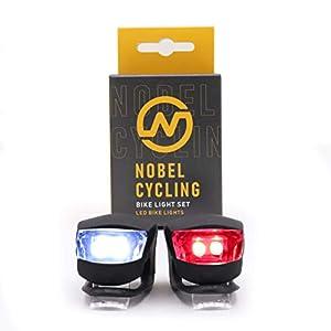 41SgNaAAblL. SS300 Nobel Cycling luci per Bicicletta - luci per Bici Anteriori e Posteriori - Involucro in Silicone Resistente - Facili da…