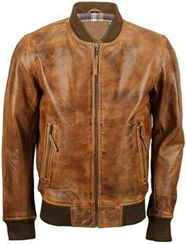 Mens-Cafe Racer Ranking TOP3 Biker Motorcycle Vintage Distressed Classic Bomber Brown