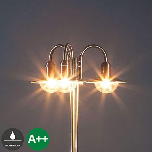 Lampenwelt Mastleuchte außen \'Damion\' (spritzwassergeschützt) (Modern) in Alu aus Edelstahl (3 flammig, E27, A++) - Kandelaber, Außenleuchte