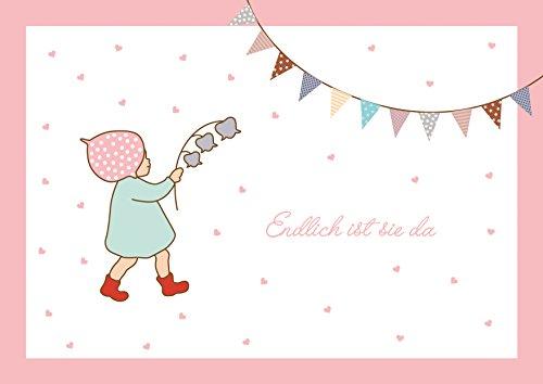 fioniony Endlich ist sie da Glückwunschkarte zur Geburt für EIN Mädchen (Klappgrußkarte/Grußkarte/Geburtskarte/Babykarte/Geburtstanzeige) mit Wichtelmännchen und Girlande in Rosa. (Mit Umschlag) (1)