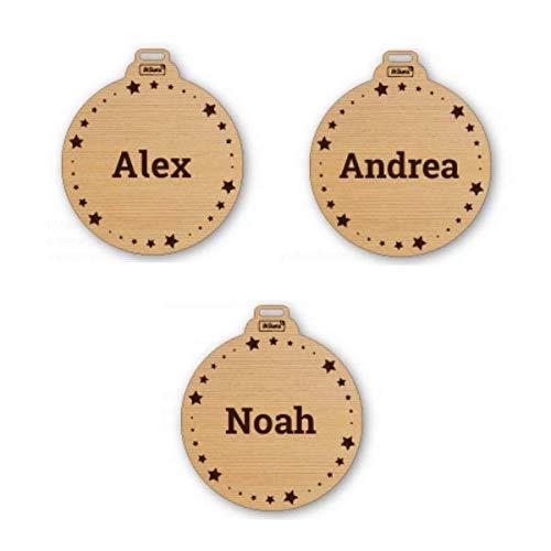Stikets Bolas de Navidad Personalizadas de Madera con Nombre. Pack de 3 Bolas