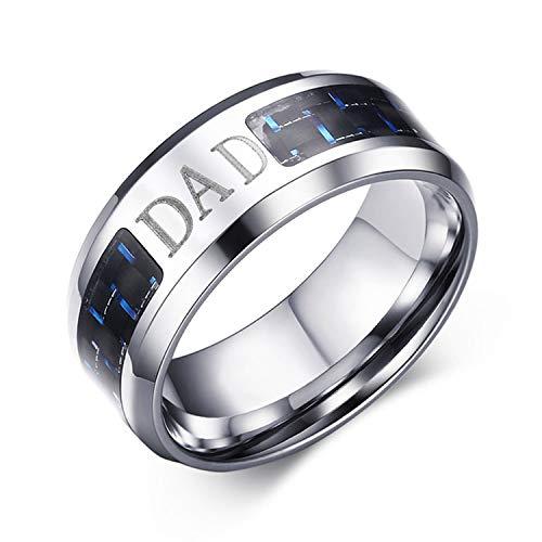 Oidea - Anillo para hombre de la dad Padre de acero inoxidable, fibra de carbono, liso, regalo para el día del padre plateado, tamaño a elegir