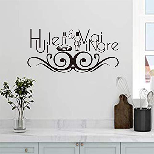 Dwzfme Pegatinas de Pared Etiqueta engomada Francesa Aceite de Cocina y vinagre Vinilo Mural calcomanía Arte de la Pared Papel Tapiz Cocina azulejo decoración del hogar 52x106cm