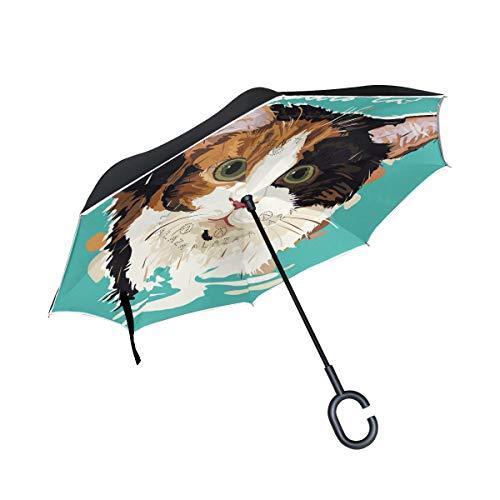 con Mango en Forma de C Paraguas al Aire Libre a Prueba de Viento Animal de Dibujos Animados Calico Cat Paraguas inverso Sombrilla de Patio para Cuidadores de automóviles