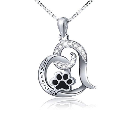 DAOCHONG S925 Sterling Silber Cute Pet Paw Print für Immer Liebe Herz Anhänger Halskette Geschenk für Frauen Mädchen Pet Lovers, Box Chain 18 Zoll