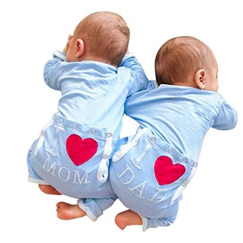 Ropa Bebe, Fossen Recién Nacido Bebé Mono Mameluco de Brother Sister Letra Estrella Patrón Pijamas de Mangas largas Peleles para Dormir para Bebe niño niña