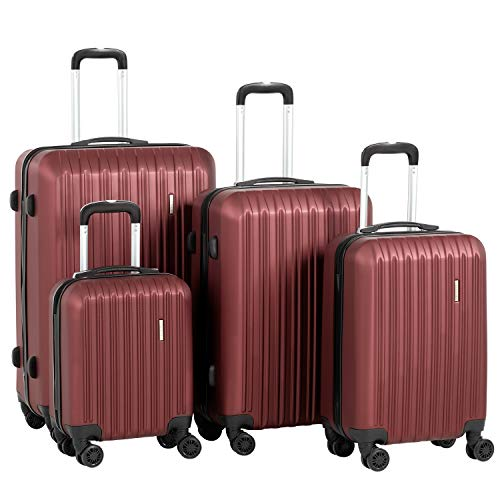 Murtisol Travel 4 Pieces ABS Luggage Sets Hardside Spinner Lightweight Durable Spinner Suitcase 16' 20' 24' 28', 4PCS Wine Red