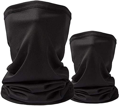 2 PCS Neck Gaiter with 10 PCS Carbon Filters for Men & Women Cooling Scarf Bandanas Balaclavas (Black)