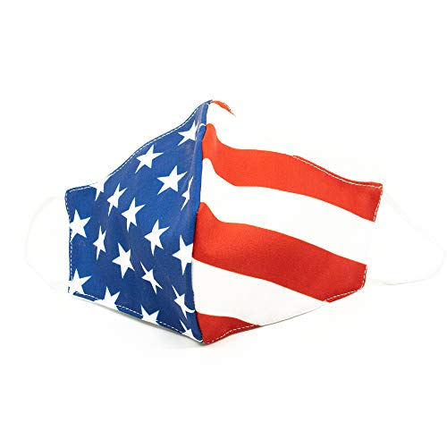 Reusable Face Masks | American Flag Print, Washable & Durable, 3 Layer Protection, 100% Cotton | Pack of 3 Masks