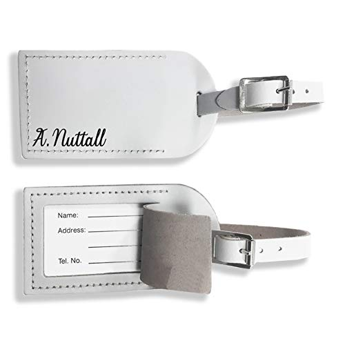 Personalised Engraved Leather Luggage Tag for Suitcases, Travel Cases for Him for Her Custom Wedding Gift x1 Genuine UK Leather Travelling Honeymoon or Holiday Accessory (White)
