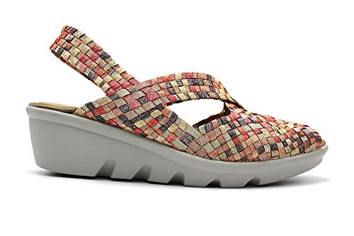 DOCTOR CUTILLAS - Zapatos elásticos con cuña y Suela de Goma. para: Mujer Color: Ambar Talla:37