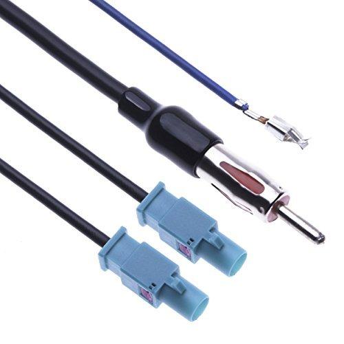 Keple Double adaptateur d'antenne Fakra vers DIN stéréo de voiture répartiteur d'antenne 1 DIN mâle vers 2 Fakra Jack Compatible avec Volkswagen Golf Jetta Touareg EOS Transporteur