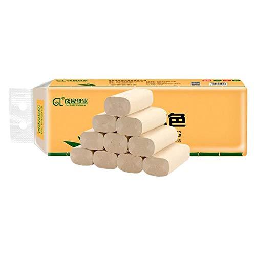 Jinclonder 4-laags natuurlijke vaste vlakke papierrol 12 rollen zacht, sterk en absorberend, licht biologisch afbreekbaar zijdeachtig, glad en zacht gerecycled papier Zacht en stevigheid