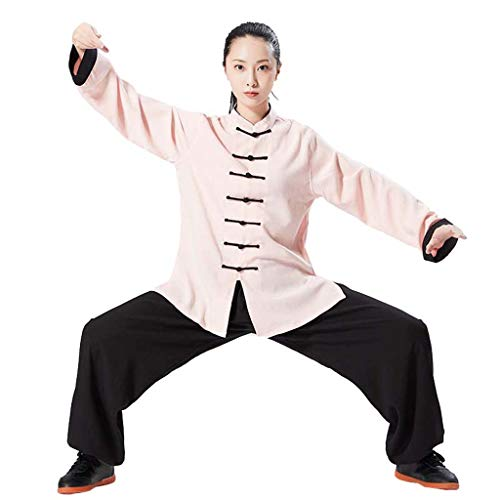 JXS Tai Chi Uniform Kung Fu Kleidung Wushu Anzug - atmungsaktive Baumwollgewebe - Chinese Traditional Martial Arts Training Kleidung,Rosa,XXXL
