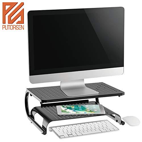 PUTORSEN® Premium Monitorständer - 14,4cm Höhe Stabiler Bildschirmständer - Airflow Mesh Platform für Monitor, Laptop, Drucker, Beamer und Computer bis zu Einem Gewicht von 20 kg