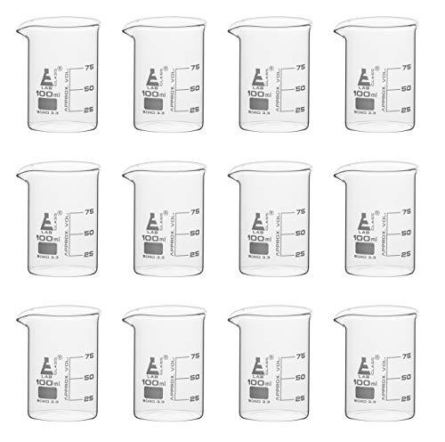 12 Pack Beakers, 100ml - Borosilicate Glass, Low Form - 25ml Graduations - Eisco Labs