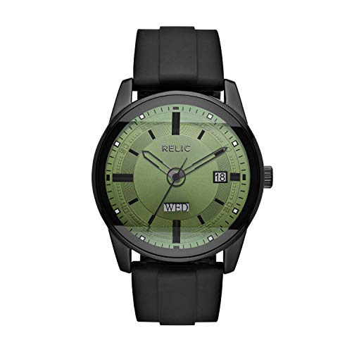 Relic by Fossil Men's Everet analog-quartz Watch with Silicone Strap, black, 24 (Model: ZR12227)